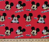 Mickey Faces Mickey Mouse Giggle Words Red Kids Velour Fabric By Yard D387.04