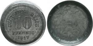Empire 10 Pfennig 1917 Schüsselförmiger Reduction / Lack Coinage 2,7g XF