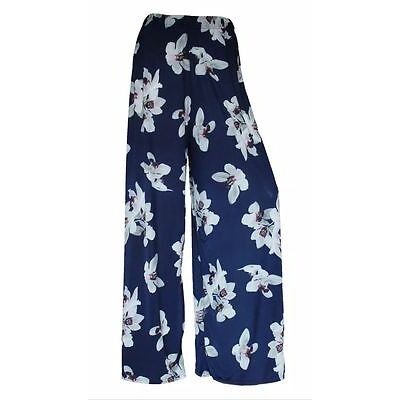 LADIES FLORAL PRINT PALAZZO WOMENS SUMMER WIDE LEG TROUSERS PLUS SIZES 8 - 26