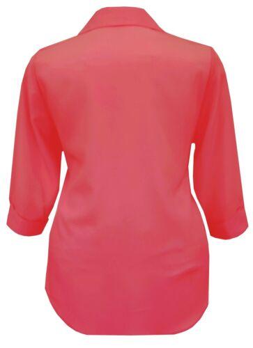 Womens 16-24 New Red en Shirt Blouse Top 3//4 Sleeve Girls Ladies Plus Size UK