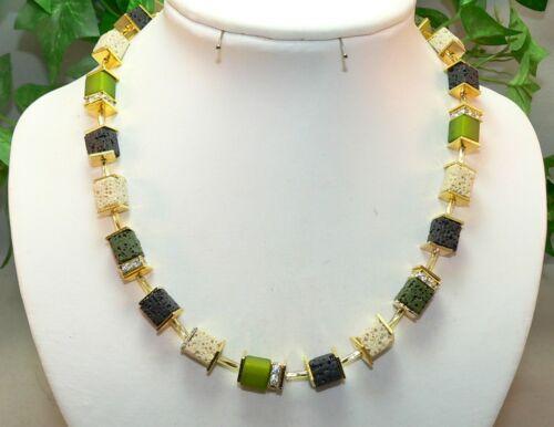 Cadena de cubo collar de perlas lava Polaris pedrería Verde oliva Negro oro 304a