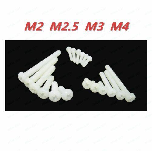 M2 M2.5 M3 M4  White Plastic Nylon Phillips Cross Round Pan Head Screws
