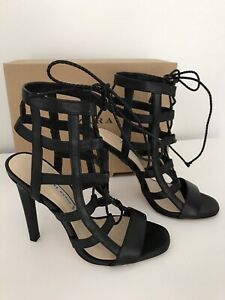 Ladies Zara Black Leather Caged Lace Up