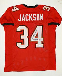 Dexter-Jackson-Autographed-Red-W-Black-Pro-Style-Jersey-w-SB-MVP-JSA-Auth