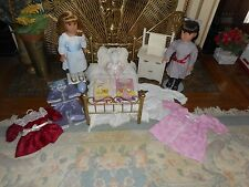 NELLIE & SAMANTHA DOLL PAIR WITH BRASS BED,COMMODE, 5 OUTFITS, ANGELINA & MORE