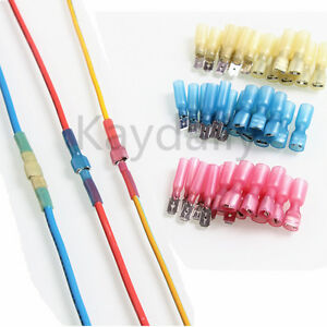 Wire Disconnects | 100x Electrical Heat Shrink Spade Wire Connectors Quick Splice