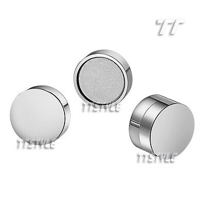 TTstyle Mirror Polished S.Steel Round Magnet Earrings Pair 6mm-10mm 5 Colour
