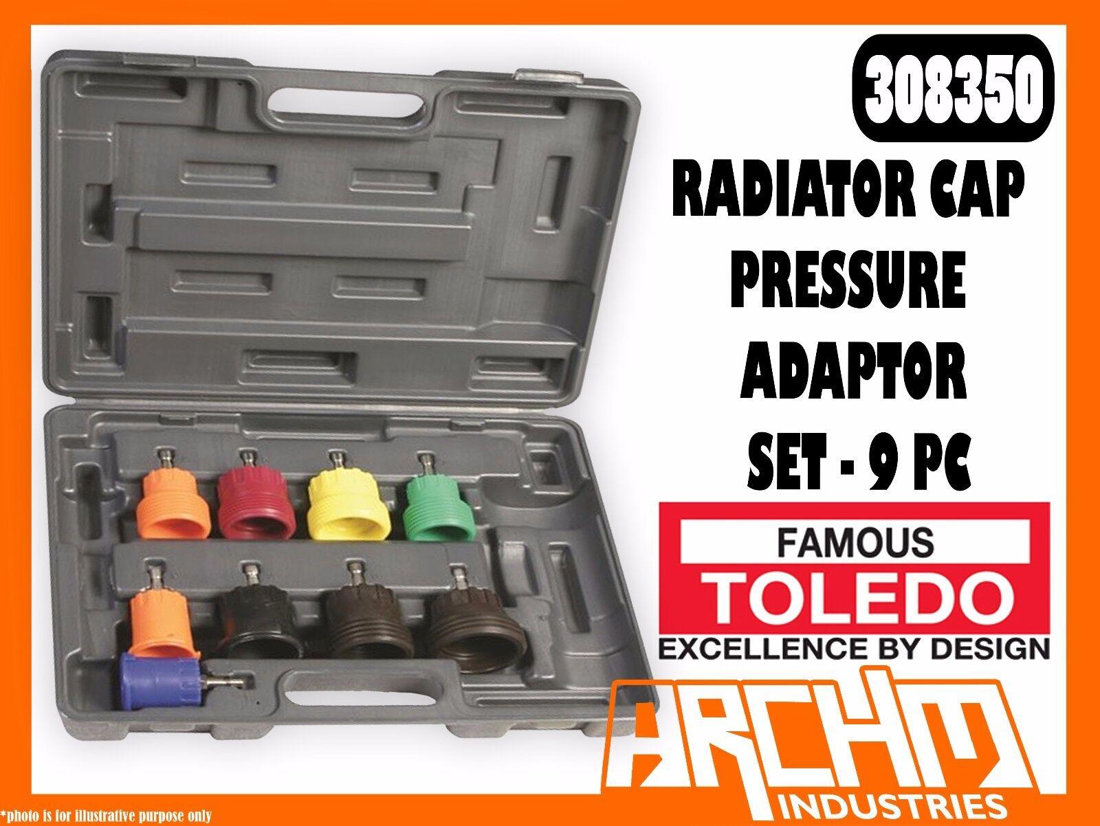 TOLEDO 308350 - RADIATOR CAP PRESSURE ADAPTOR SET - 9 PC - METAL PLASTIC