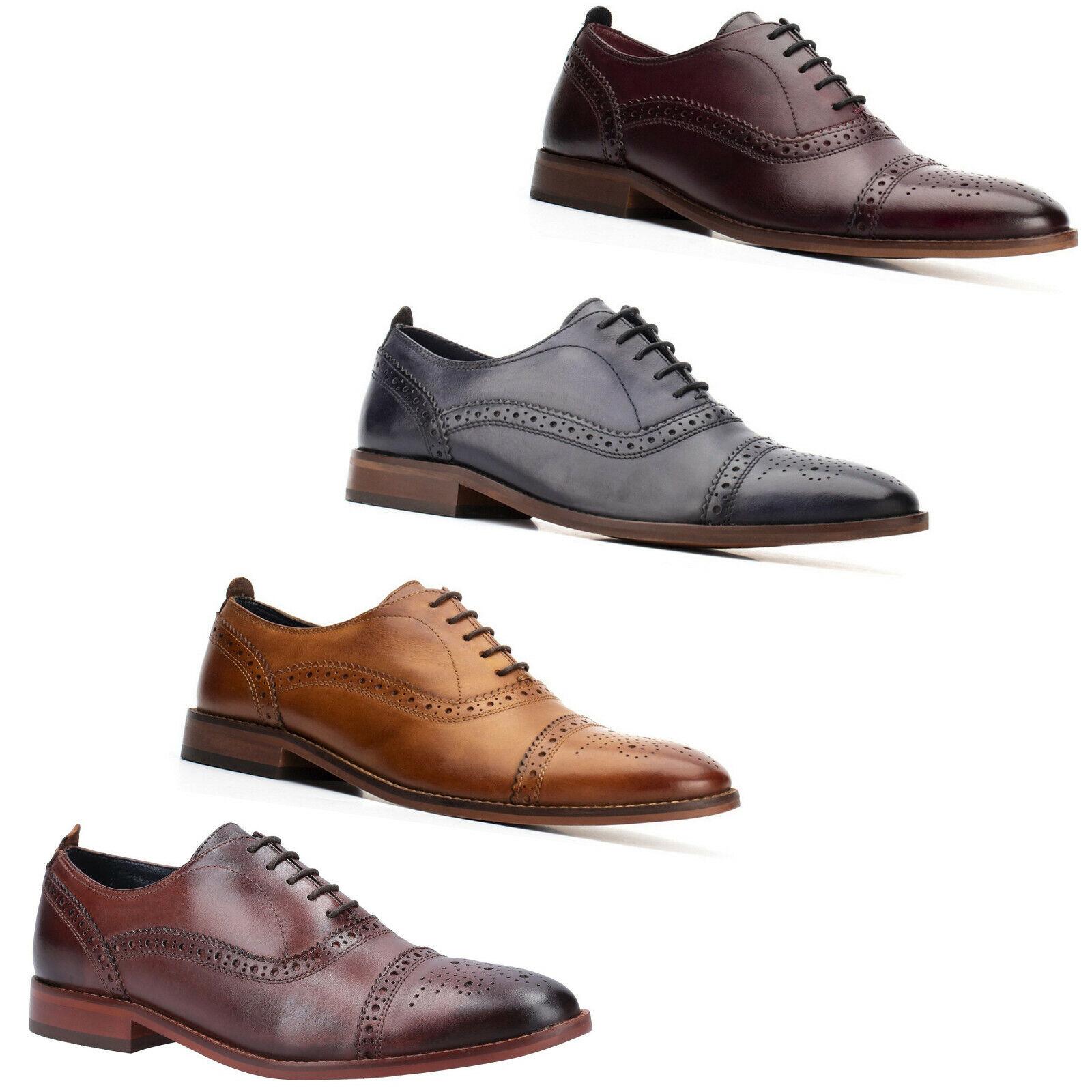Base London Brogue Herren Oxford Schuhe Leder Gegossen Gewaschen Formelle Ups