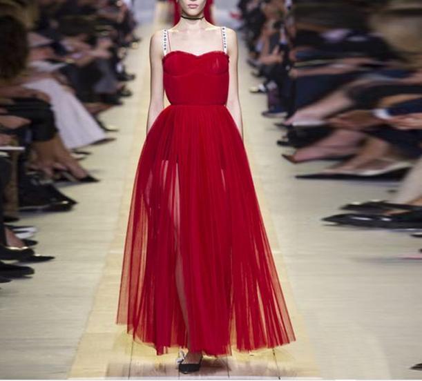 Women 17 Occident runway fashion elegant pressure pleated waist strap long dress