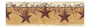 Simply-Folk-Art-Stars-and-Berries-Sure-Strip-Wallpaper-Border-HK4663BD