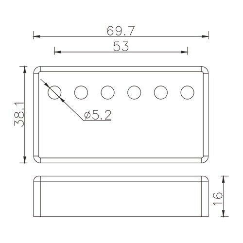 Humbucker Copertura Nickel Argento-Nichel Placcato 53mm
