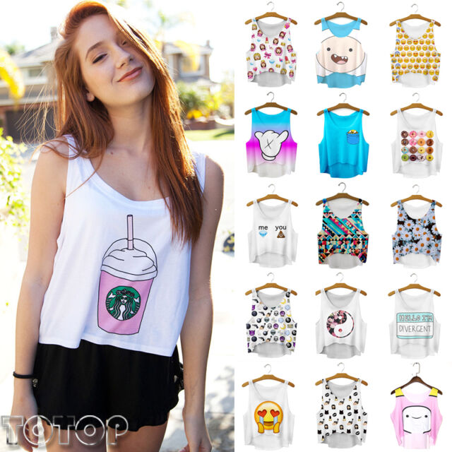 Summer Casual Women Emoji Print Tank Top Vest Blouse Sleeveless Crop T-Shirt Tee