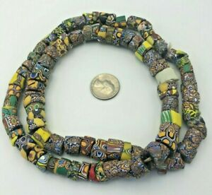 Mixes-VINTAGE-African-Trade-Glass-Beads-Old-Antique-Natural-Round-Necklace