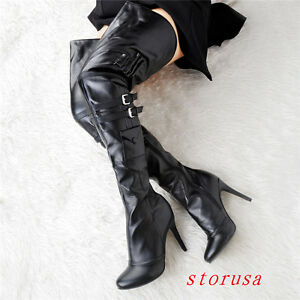 Sexy leather thigh high boots