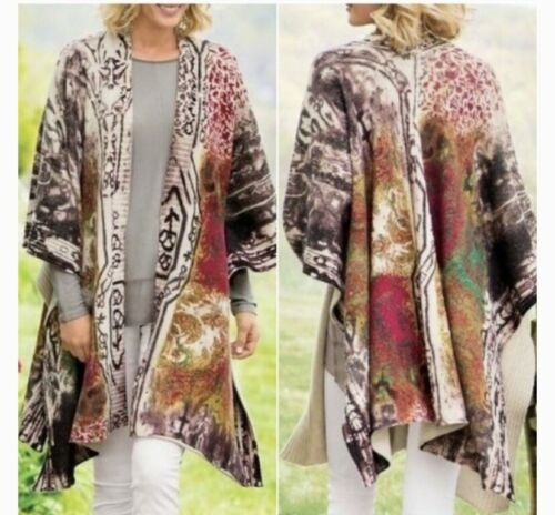 Soft Surroundings Colorful Tapestry Cape Sweater O