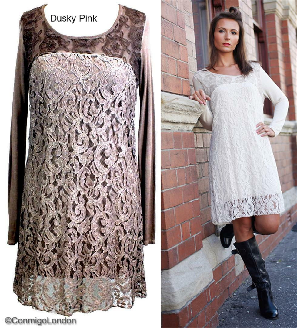 Made in  - goITT194BA - Dusky Rosa Fitted Lace Dress