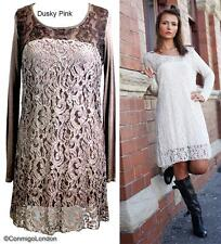 Made in Italy - goITT194BA - Dusky Pink Fitted Lace Dress