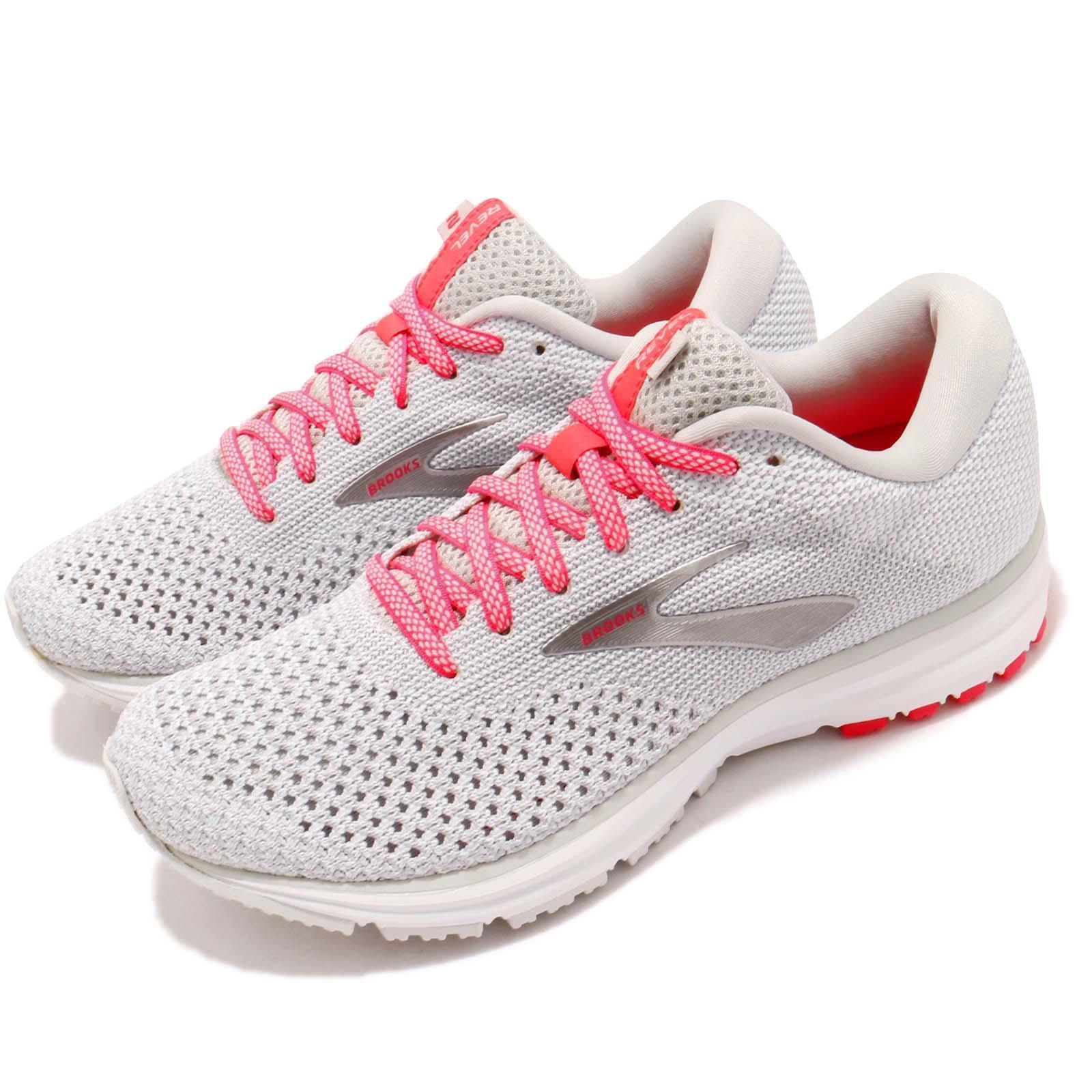 Brooks Revel 2 Grey White Pink Women Running Training shoes Sneakers 120281 1B