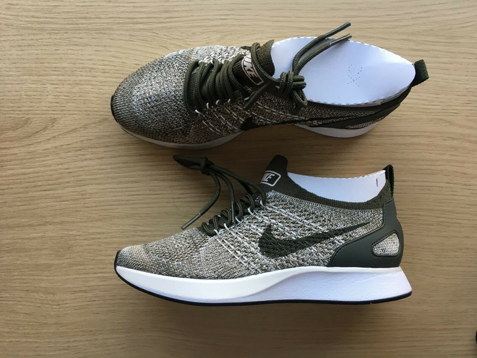 1eea3f9d70d Details about WOMENS NIKE AIR ZOOM MARIAH FLYKNIT RACER PREMIUM - UK SIZE 4  - GREEN/GREY/WHITE