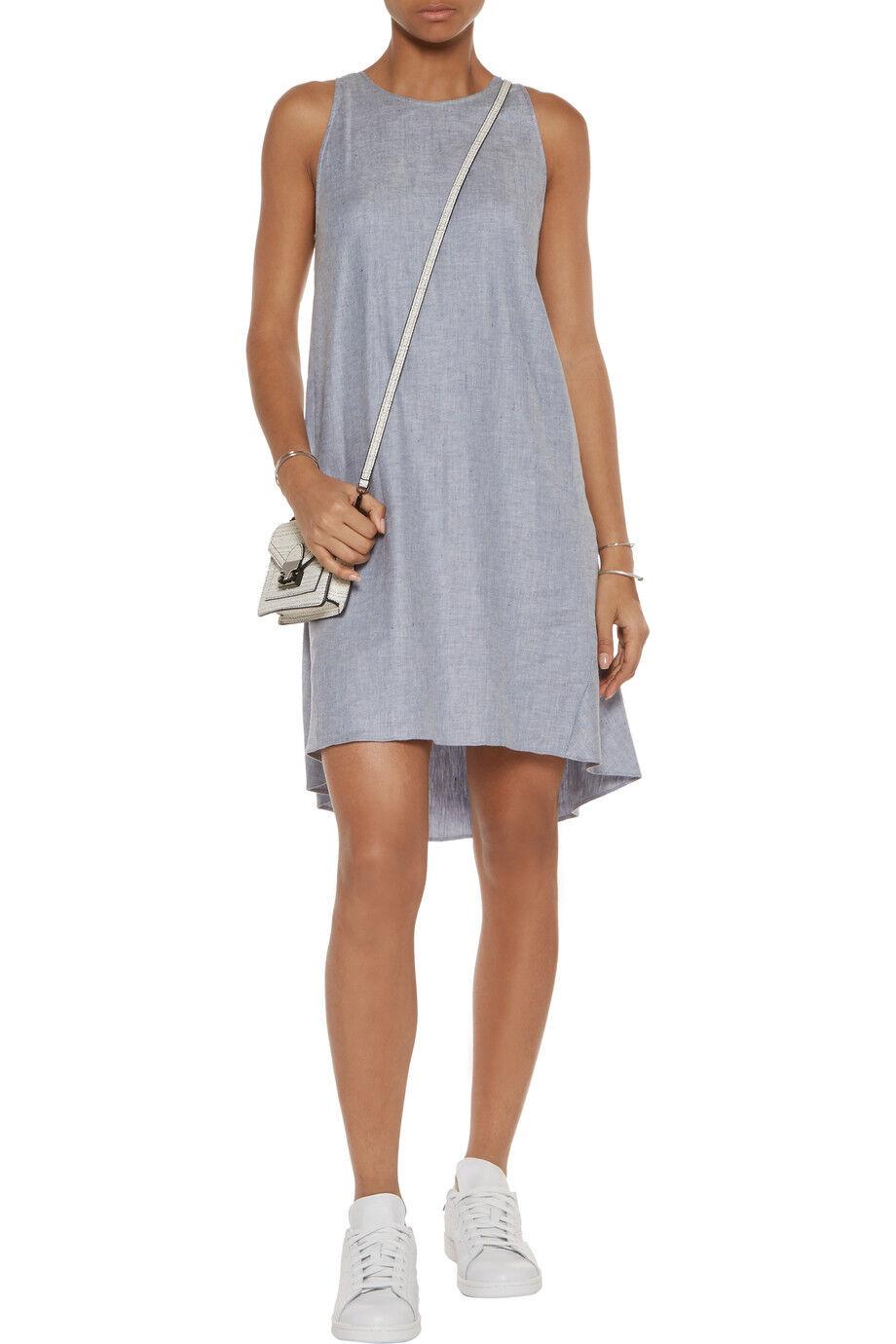 THEORY Adlerdale Light Grey Tierra Linen Blend High Low Dress Size 8 NWT $325