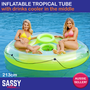Image Is Loading Inflatable Pool Tube 213cm With Drinks Cooler Round