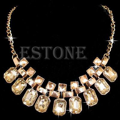 Women Fashion Jewelry Pendant Chain Crystal Choker Chunky Bib Statement Necklace