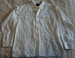 Wrangler-Pearl-Snap-Dress-Shirt-White-Button-Up-Shirt-Men-039-s-Size-XXL