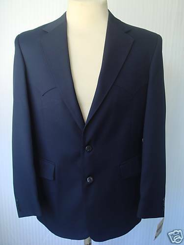 40R New  Herren Western Wear Sport Coat  Navy Blau PolyGab