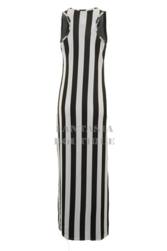 New Ladies Plain Racer Back Belted Stripe Long Women/'s Maxi Dress Side Split