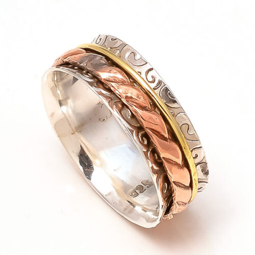Solide Argent Sterling 925 Spinner Ring Bague Méditation Statement Ring Taille sr318
