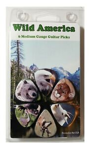 Guitar-Pick-6-Pack-Wild-America-Animals-Eagle-Moose-Bear-Elk-and-More-Picks