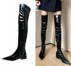 4f30071b3db Details about Women's Pointy Toe Chunky Low Heel Pull On Shiny Over Knee  Boots Patent Leather