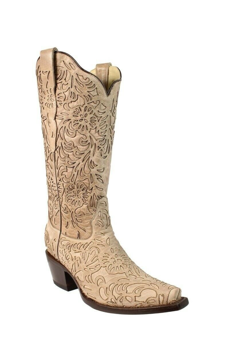 Corral Women's Embroidered Snip Toe Cowboy Western Boots Bone G1388