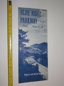 Details about 2 Vintage 1960\'s Map Brochure Blue Ridge Parkway Virginia & N  Carolina smoky MTS