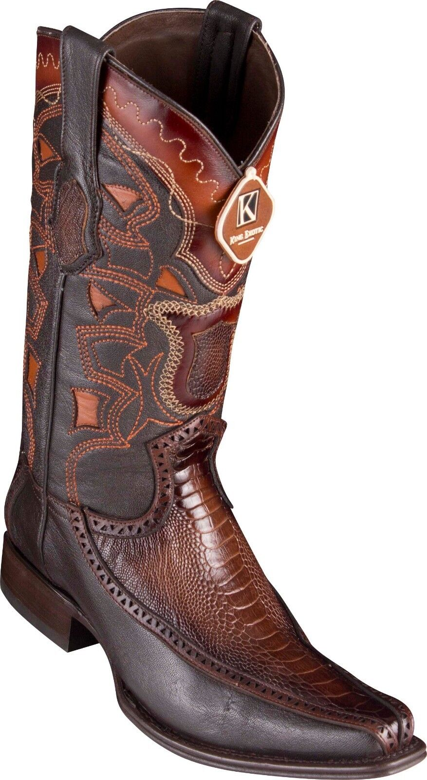 Men's Los Altos Genuine Ostrich Leg With Deer European Square Toe Western stivali