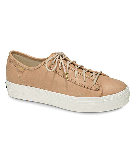 Keds WH58062 Women's Triple Kick Natural Leather Natural shoes, 9.5 Med