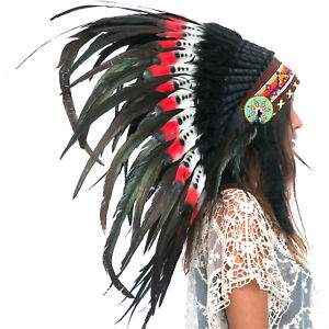 Feather-Headdress-Native-American-Indian-Style-ADJUSTABLE-DOUBLE-FEATHER-Red