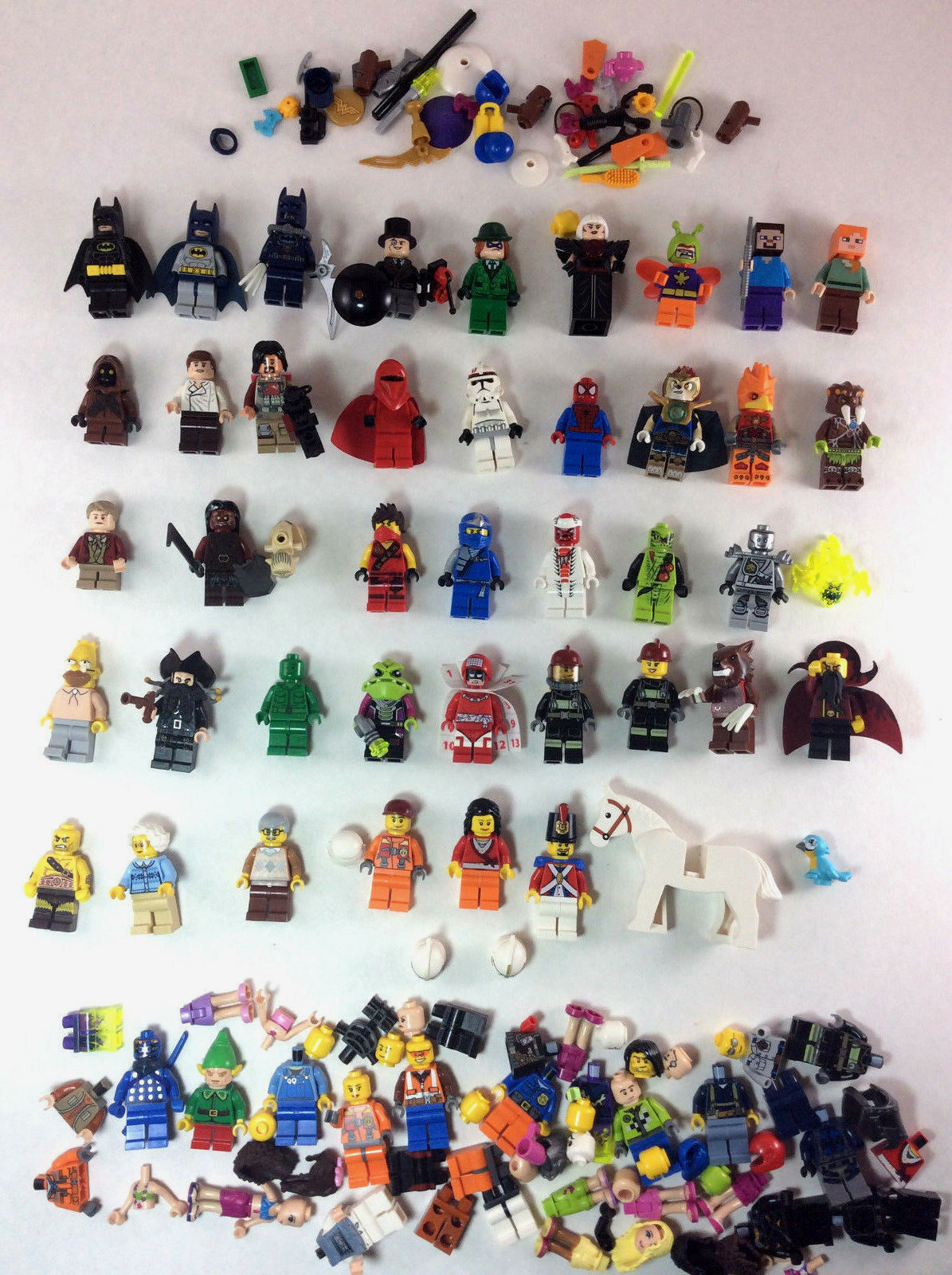 HUGE 45+ Lego Minifigure & Accessories Parts Lot Batman Star Wars LOTR Minecraft