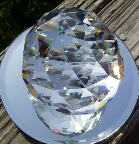 OPTICALLY PURE-RAINBOWS-FREE SHIPPING HUGE 80 MM FACETED LEAD CRYSTAL PRISM
