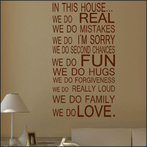 Grande maison citation règles familiales Love Autocollant Mural Art amusant Autocollant Vinyle Pochoir