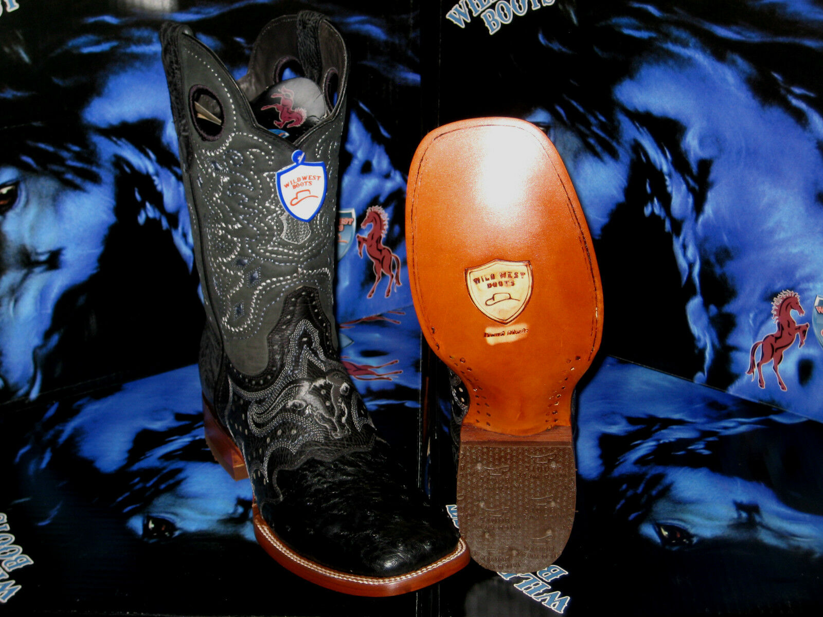 negozio outlet WILD WEST GENUINE GENUINE GENUINE OSTRICH SQUARE nero RODEO WESTERN COWBOY avvio 2820305  promozioni eccitanti