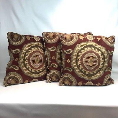 Earth Tone Throw Pillows.Earth Tone Set Of Three Throw Pillows 20 X20 Boho Ethnic Print Rust Greens Tan Ebay