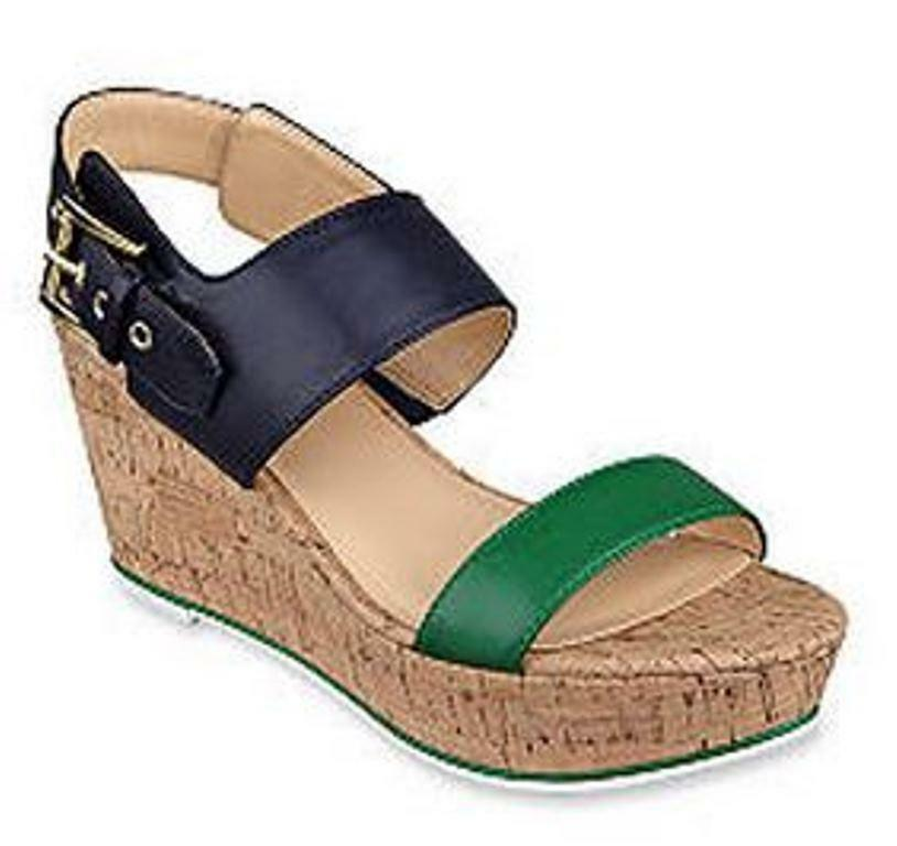 Women's Shoes Tommy Hilfiger Strap MAITE SandalbAnkle Strap Hilfiger Cork Wedge Heel Blue Multi 7e8b04