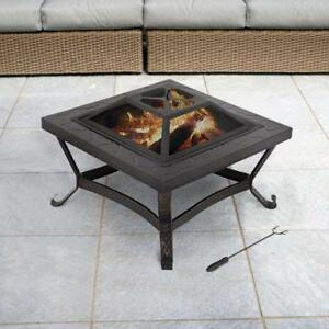 Details About Propane Fire Pit Set Outdoor Patio Fireplace Backyard Heater Cover And Log