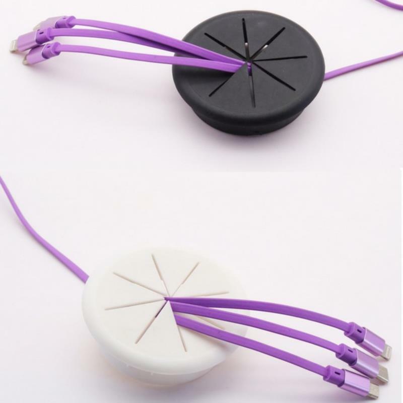 1Pc Flexible Silicone Cable Hole Cover Desk Cord Grommet Rubber GrommetsAPUK