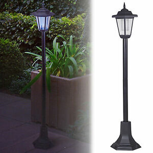 Solar-Powered-Garden-Lights-Lantern-Lamp-Black-LED-Pathway-Driveway-Outdoor-Post