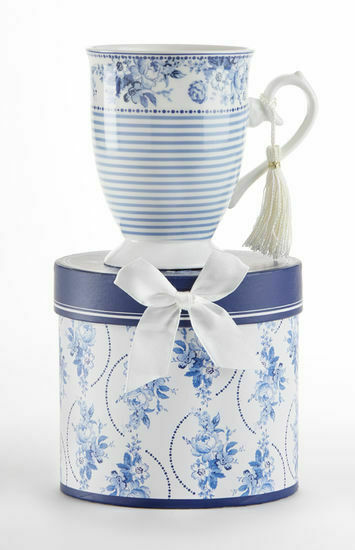 Delton Products Tall Porcelain Mug, Englich Blue 4.6 in Gift Box, 8131-9