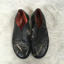 Camper Slip On Black Leather Butterfly Stitch Casual Comfort Shoe Women's Sz 6.5