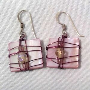 OOAK-hand-crafted-earrings-art-to-wear-pink-shell-purple-wire-wrap-beads-5-8-034